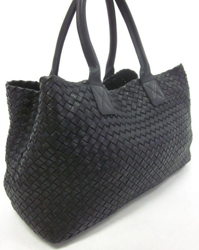 a618307d6bc5 AUTH BOTTEGA VENETA Black Woven Leather Cabat Limited Edition Handbag at  www.ShopLindasStuff.com