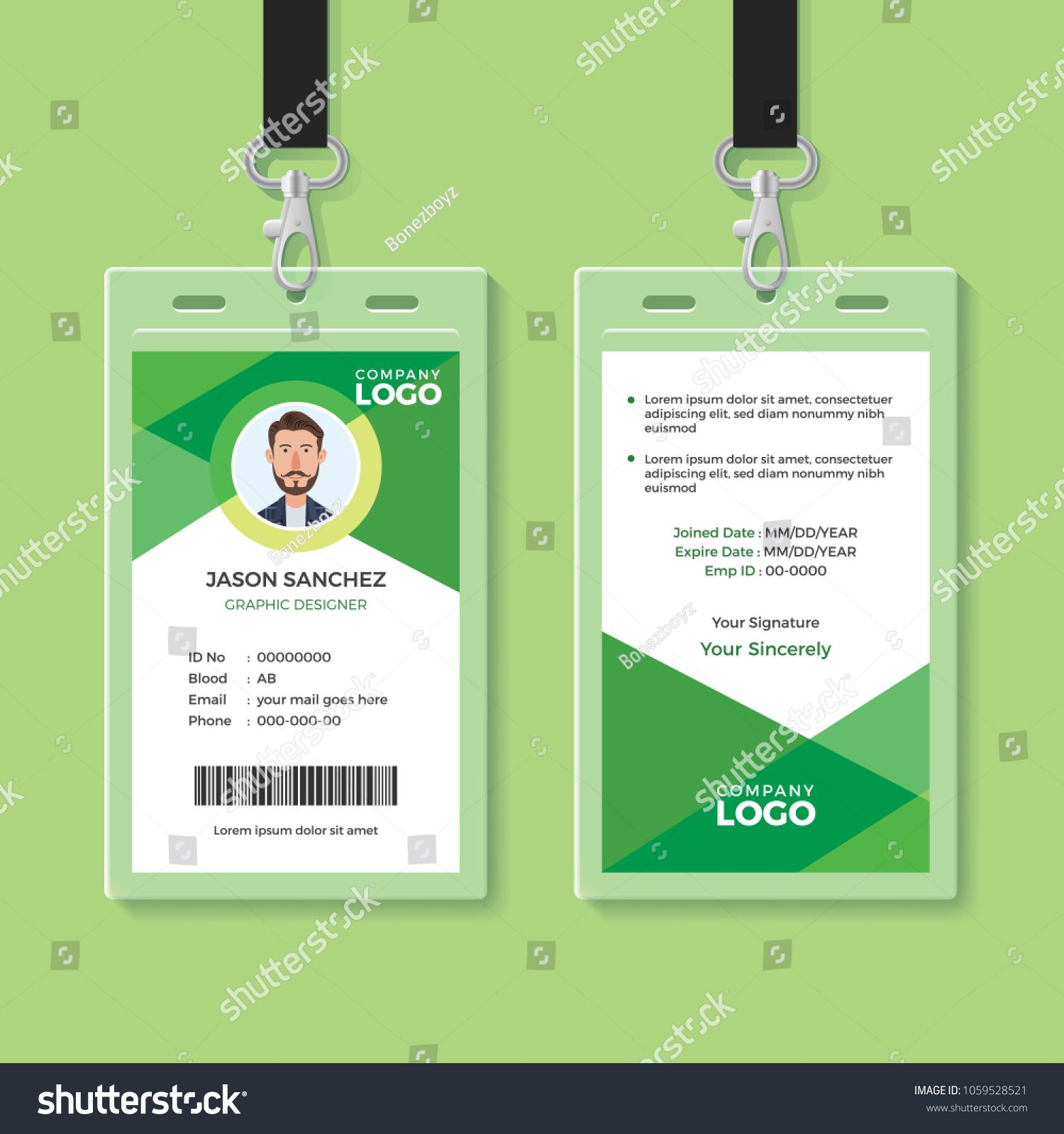 Simple And Clean Green Id Card Design Template Green Clean Simple