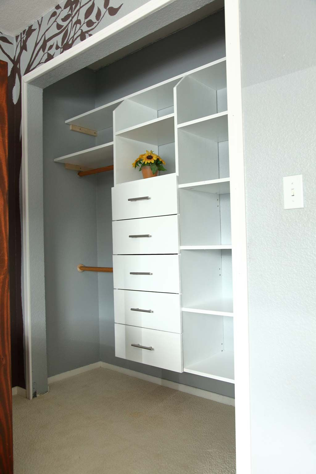 I Made This Closet Organizer Because This Closet Was A Mess My Younger Son Could Not Reach To Closet Organizer With Drawers Closet Organization Closet Drawers