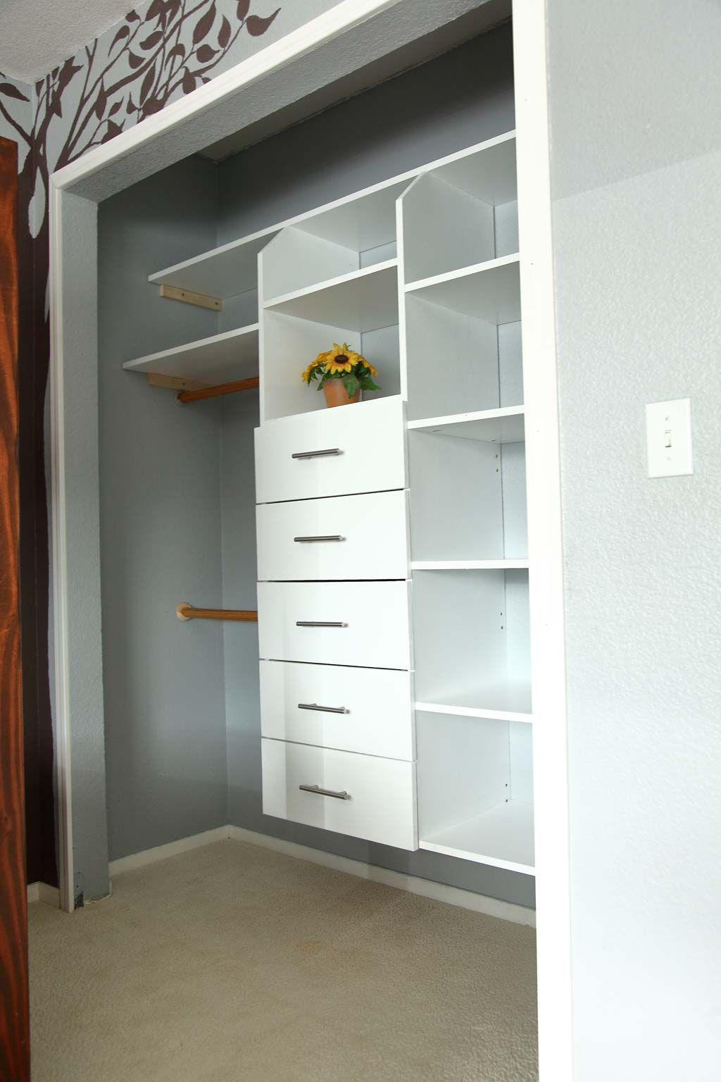 Diy closet organizer with drawers and shelves closet