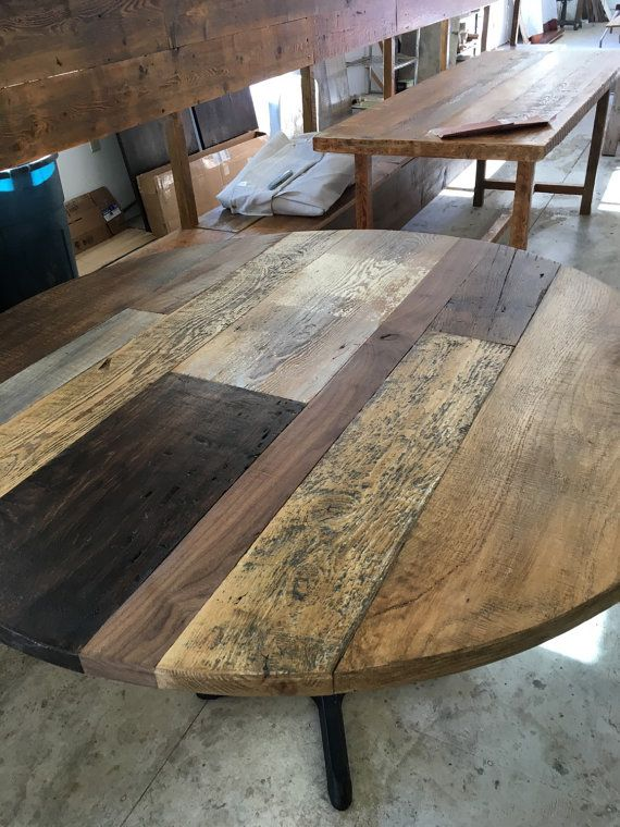 Reclaimed Wood Round Dining Table Table By Freshrestorations Rustic Kitchen Tables Round Wood Dining Table Diy Patio Table