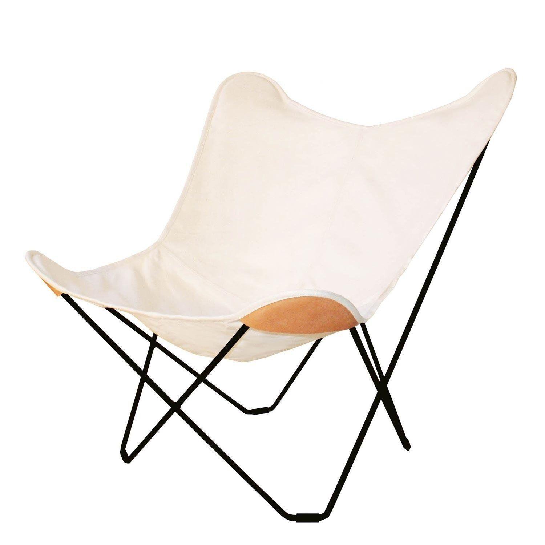 Cuero Canvas Mariposa Butterfly Chair Outdoorsessel Schmetterling Stuhl Sessel Sessel Weiss