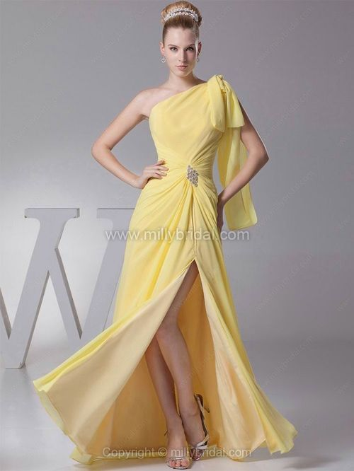 Sheath/Column One Shoulder Chiffon Floor-length Split Front Prom Dresses