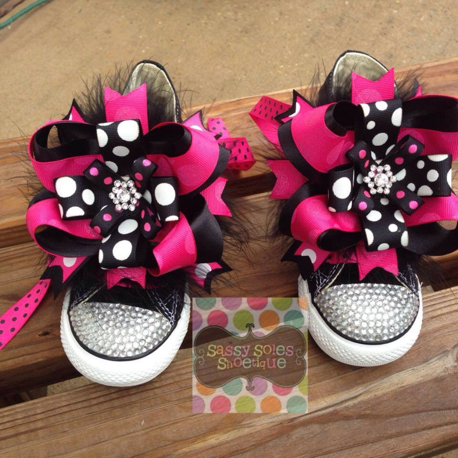 6ced74691ff6 Pink and Black Diva Customized Bling Converse by SassySolesShoetique on Etsy  https   www