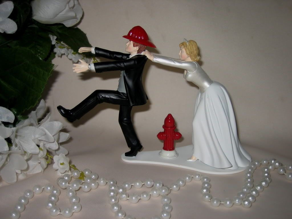 Fireman Firefighter Groom Humorous Wedding Cake Topper Running