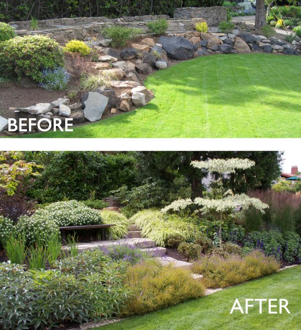 Removing Most Of The Retaining Rocks And Re Grading The Slope Allowed Us To Create A Sloping Garden A With Sloped Garden Landscaping With Rocks Hillside Garden