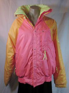 2f416735cf Vtg Neon Goretex Nylon Ski Jacket Womens M Puffer Alpine Design 80 s ...