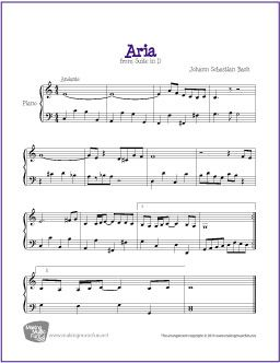 Aria from Suite in D (Bach)   Free sheet music, Sheet music and Pianos