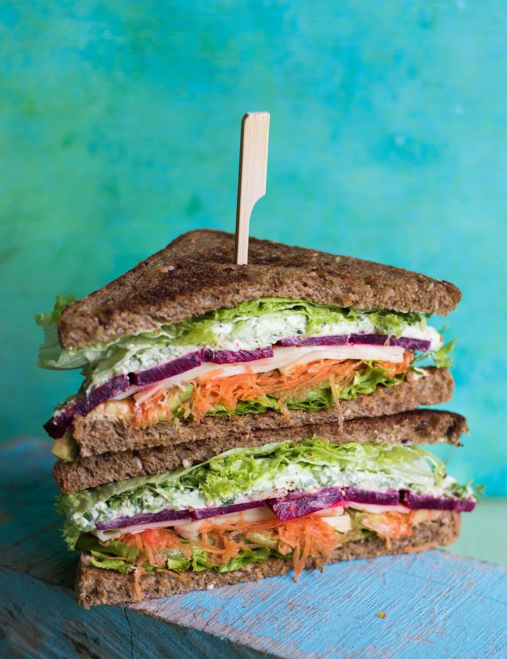 Spring sandwich with wild garlic dip -  Spring sandwich with wild garlic dip  -