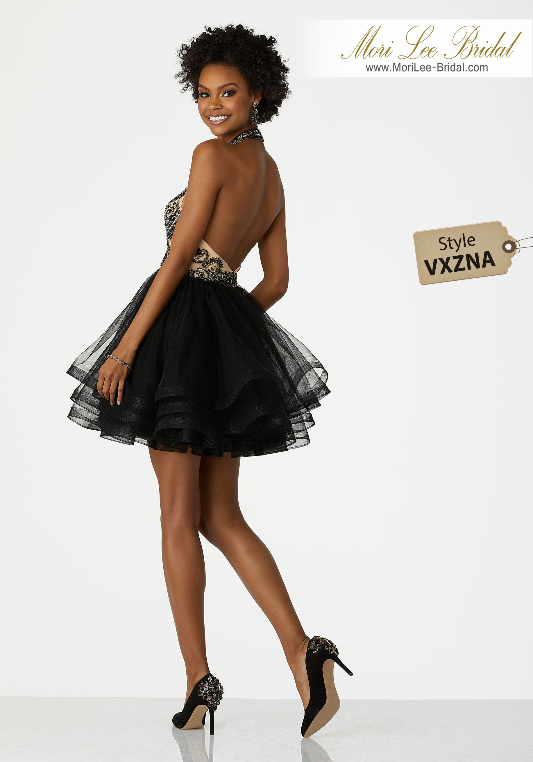 Style vxznahigh halter beaded party dress with with low back and