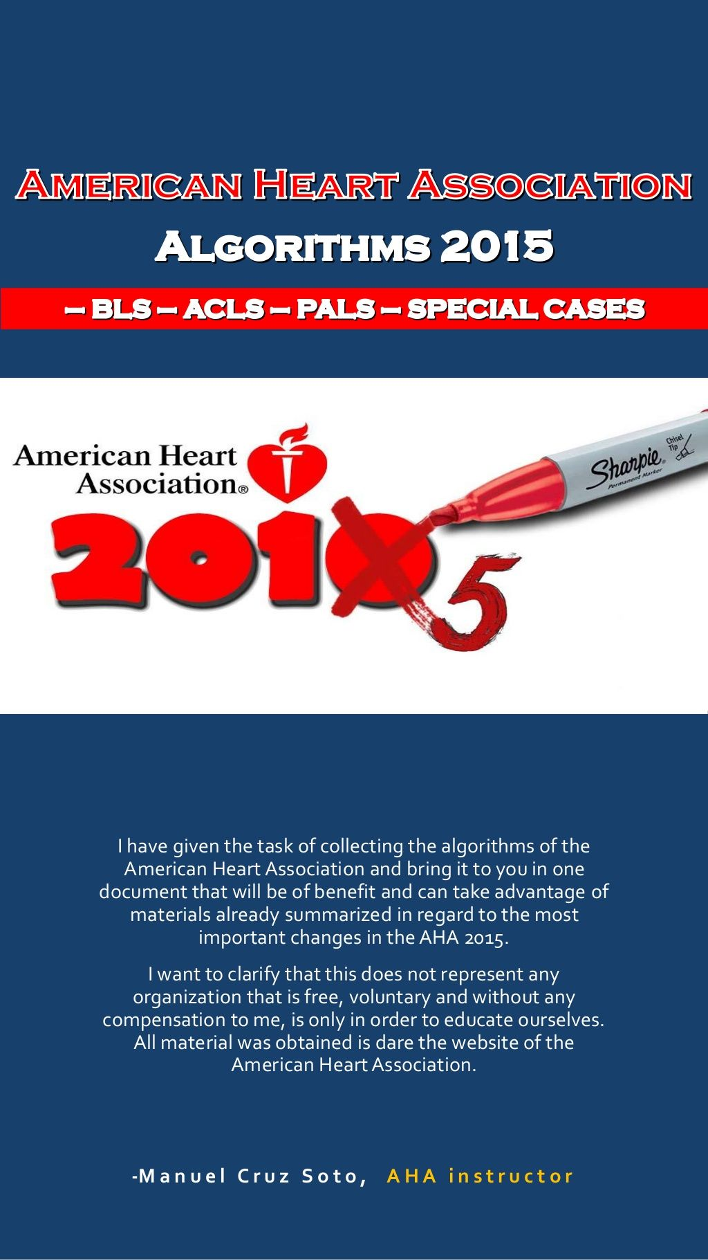 AHA 2015 Algorithms for BLS, ACLS PALS in 2020 Acls