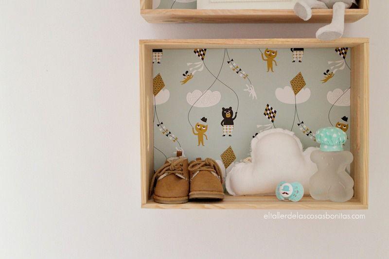 caja de madera empapelada kids diy estantera para nios