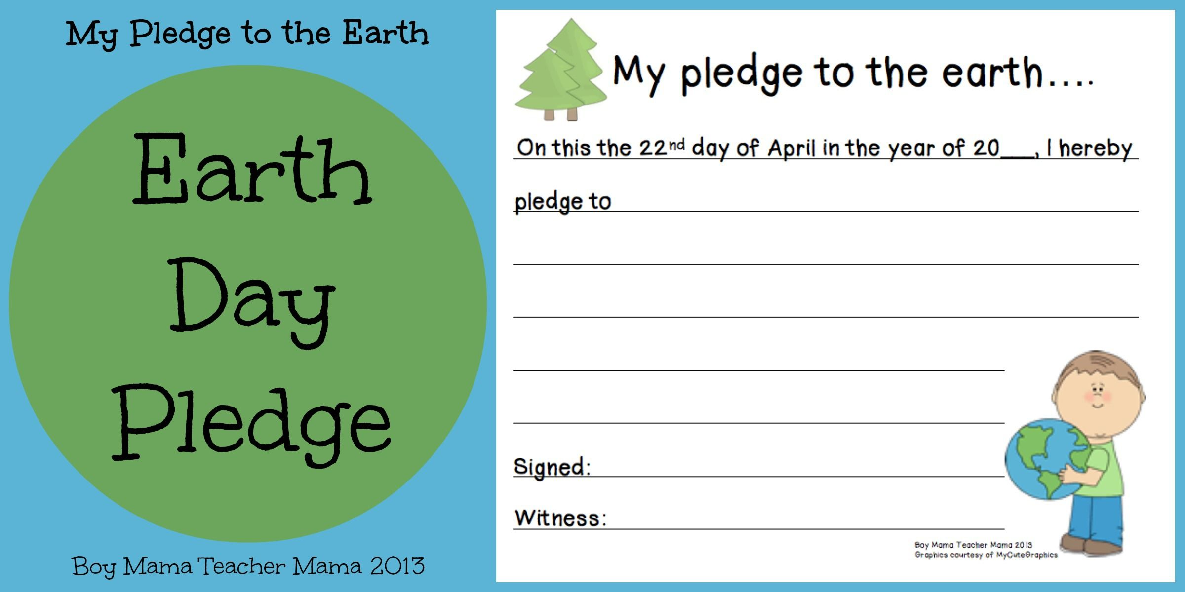 Boy Mama Teacher Mama  Earth Day Pledge  Free Worksheets For