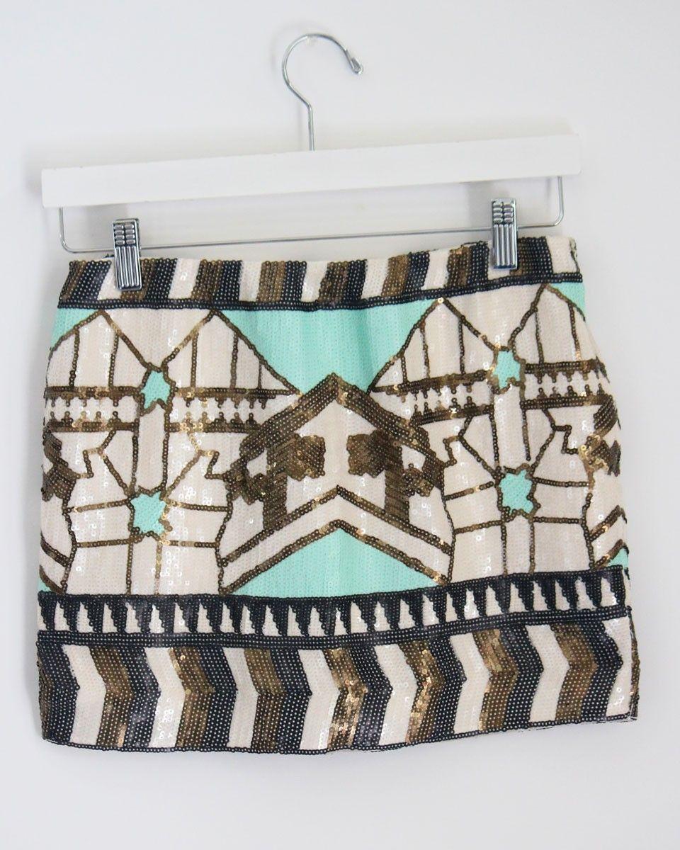 Minty Sequin Skirt