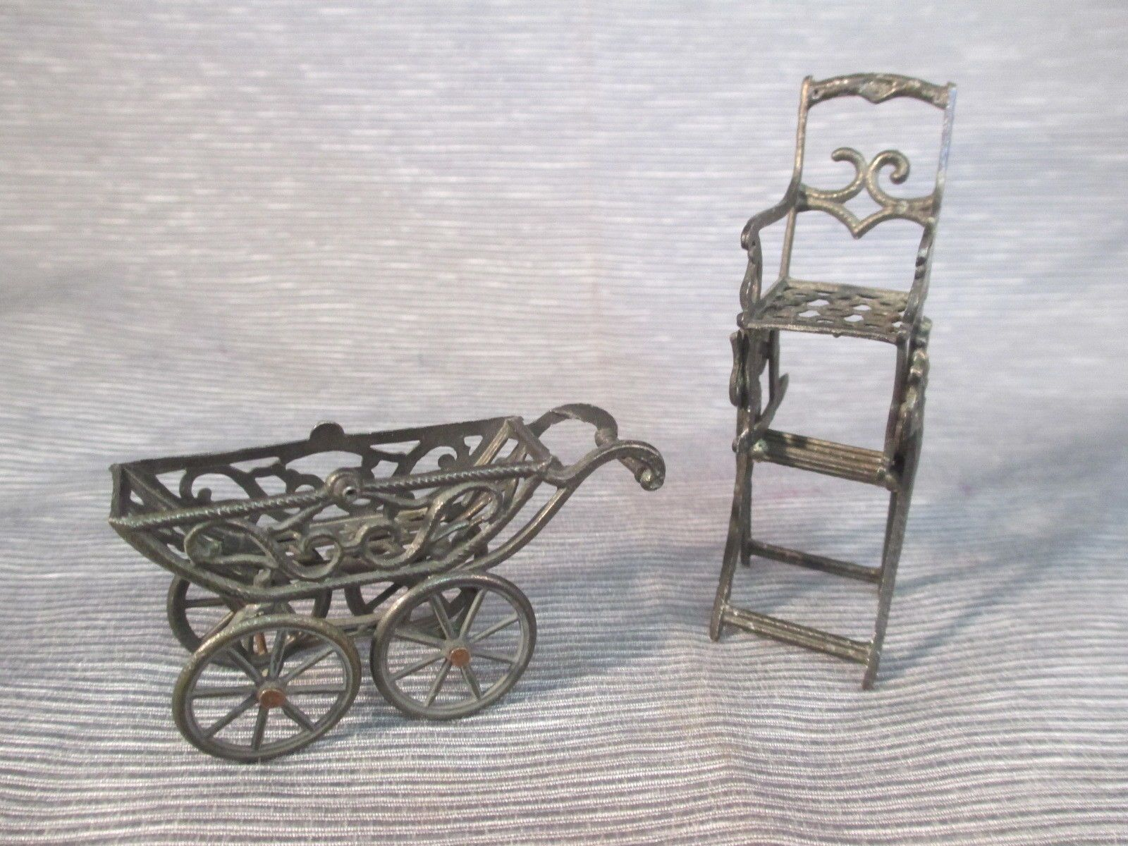 Antique metal high chair - Antique French Simon Et Rivollet Micro Miniature Carriage Rocking High Chair Ebay