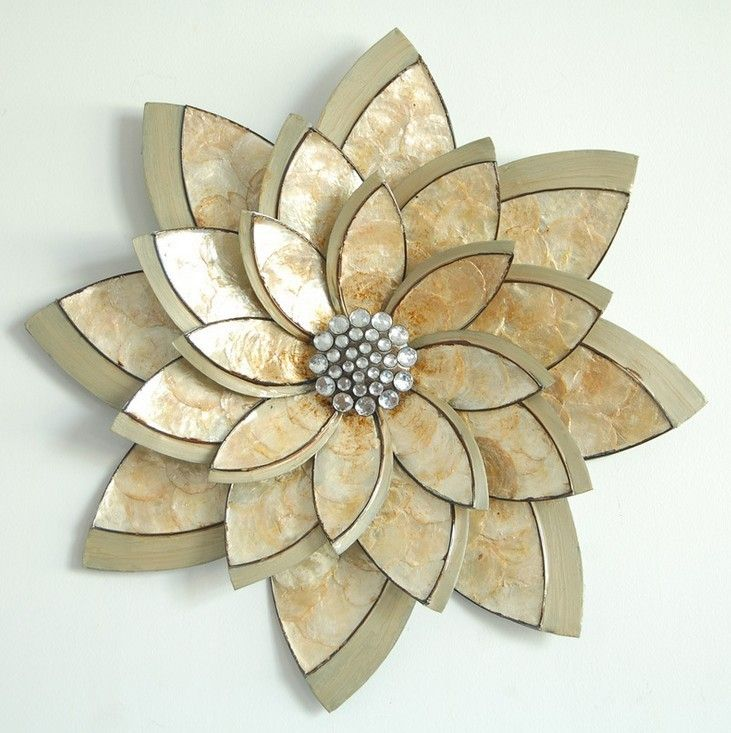 Etonnant Fashion Home Decoration Metal Wall Art Hand Made 3D Cameo Shell Flower With  Metal Frame 63.5