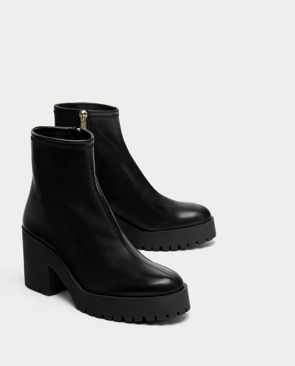 04a06ee880c Image 1 of LEATHER HIGH HEEL ANKLE BOOTS WITH TRACK SOLE from Zara ...