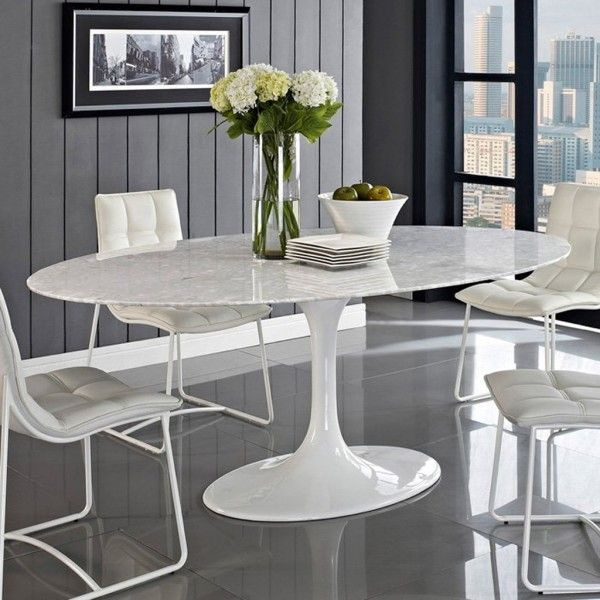 Modern Dining Chairs Using Metal Furniture Legs On High Gloss Porcelain Floor Tiles 600x600 Jpg Oval Table Dining Dining Table Marble Round Marble Dining Table
