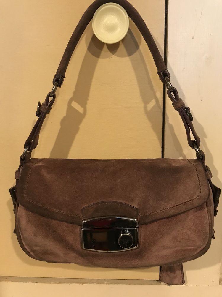 be5cb74b90a8 Small Brown Suede Authentic **PRADA** Shoulder Bag #wearing #designer  #wearsprada #louisvatton #prada