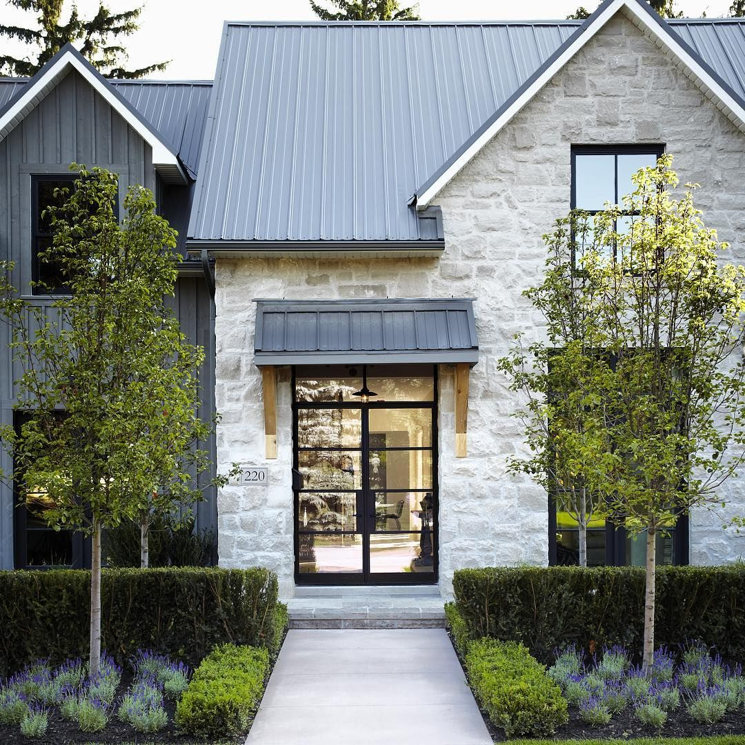 Modern Gray Exterior With Steel Beams: Indianna Buff Gray Limestone