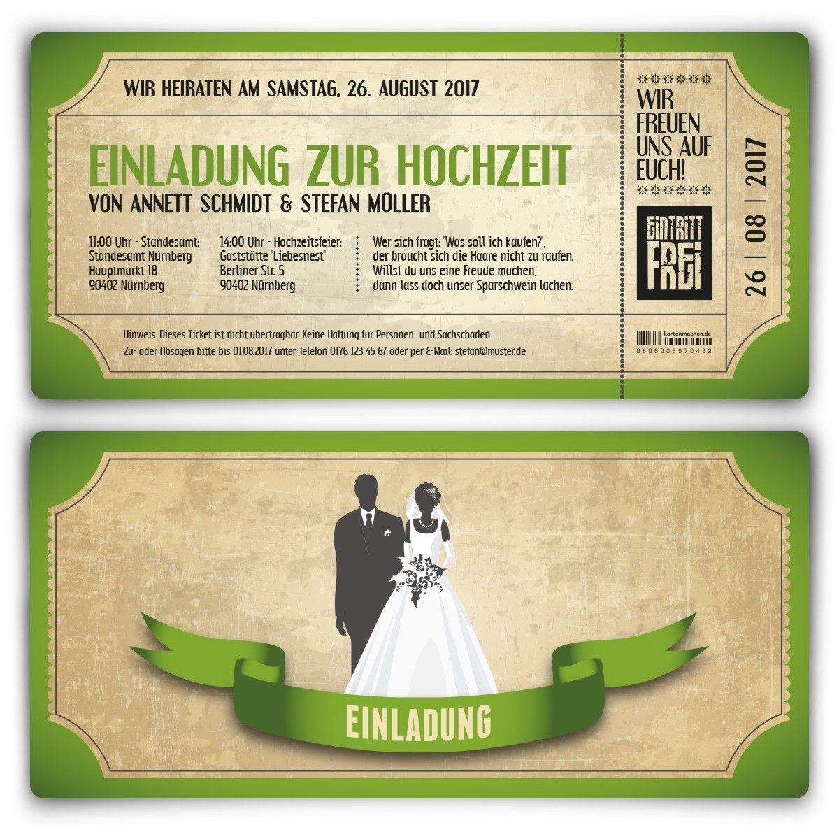 Hochzeitskarten   Vintage Brautpaar In Grün #hochzeit #einladung  #hochzeitseinladung #invitation #vintage. Vintage WeddingsTicketInvitation