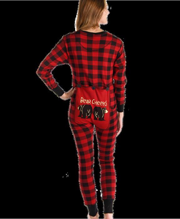 Bear Cheek Plaid Adult Onesie Flapjack Adult pajamas