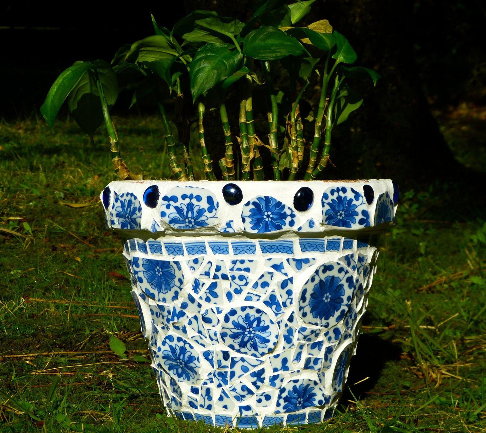 """pot de fleur picassiette """"fleur bleue""""   pots"""