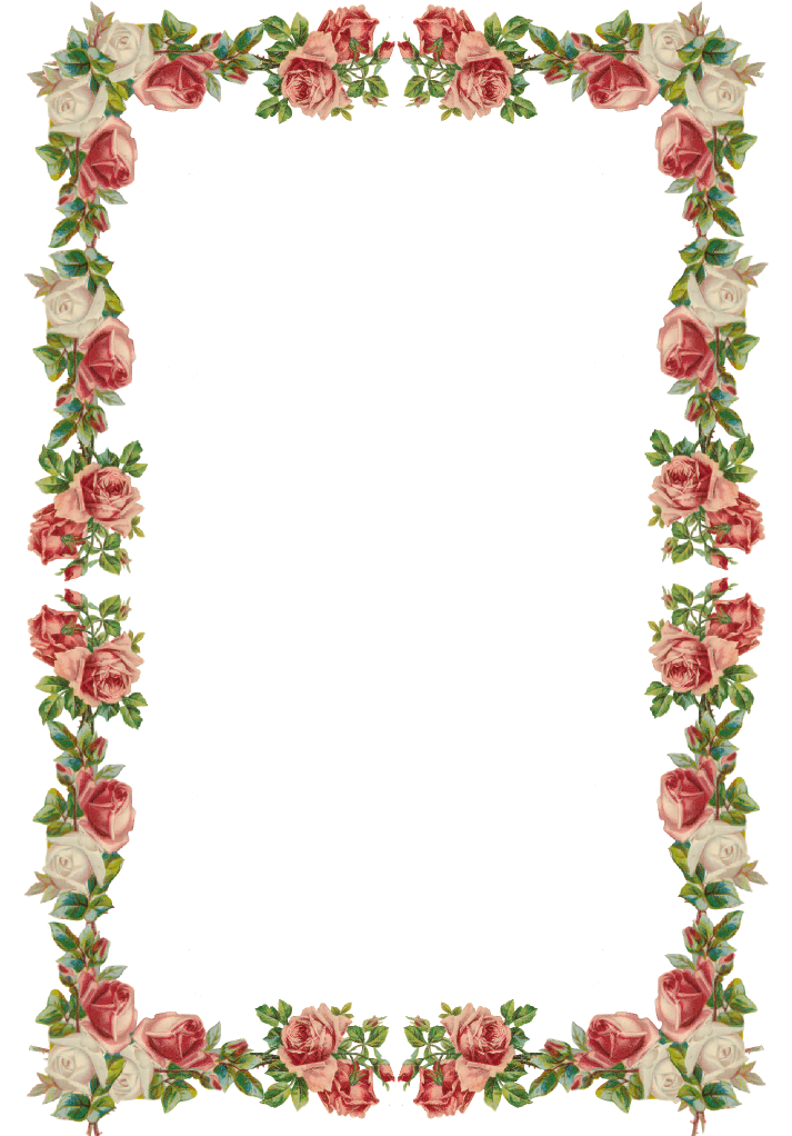 Free digital vintage rose frame and border png with ...