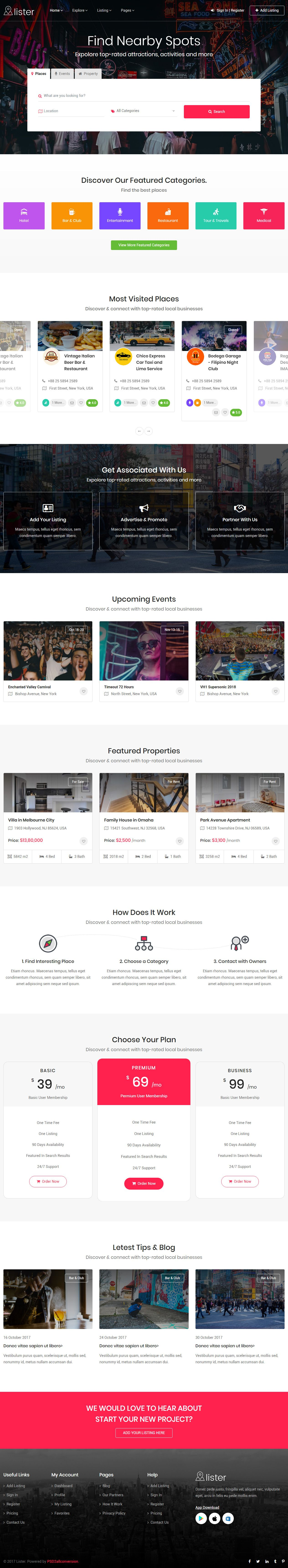 Lister Is Premiumhtml5template Bootstrap 4 Framework Responsive Design If You Like This Listing Template Web App Design Website Design Layout Web Design