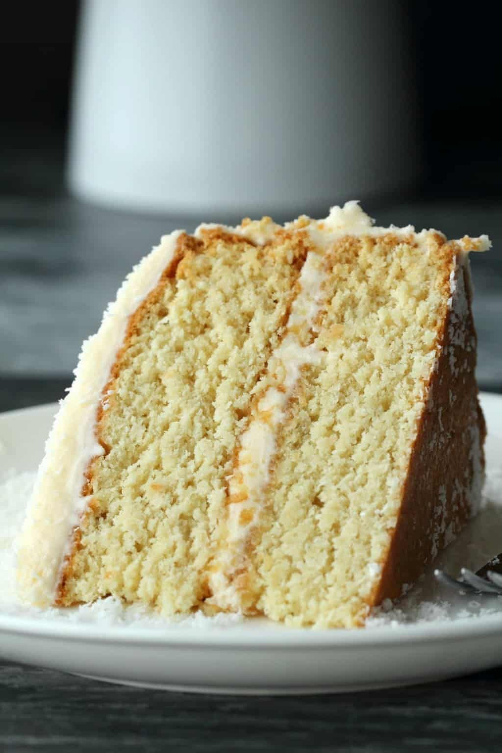 Fabulously Coconutty Two Layered Vegan Coconut Cake Topped With A Decadent Coconut Rum Frosting Vegan Coconut Cake Vegan Rum Cake Recipe Sweet Recipes Desserts