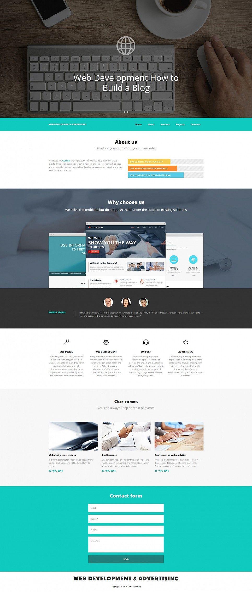 Build A Website For Web Development Company Responsive Moto Cms 3 Template 55500 Ecommerce Website Design Web Design Tips Web Design Quotes