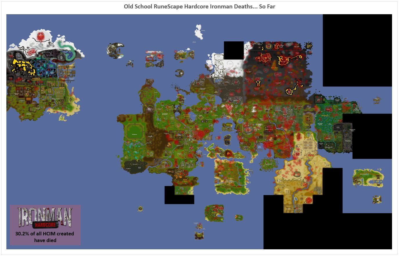 Map of HCIM Deaths So Far | RuneSwap OSRS Faves | Map, Movie posters ...
