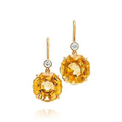Tiffany Sparklers Drop Earrings In 18k Gold With Citrines And Diamonds Citrine Yellow