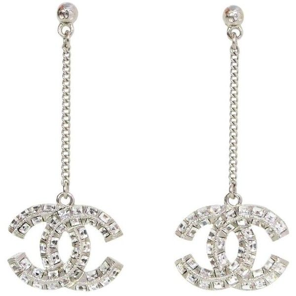 Preowned Chanel Pave Crystal Cc Drop Pierced Earrings 755 Aud Liked On Polyvore Featuring Jewelry Grey Pre Owned