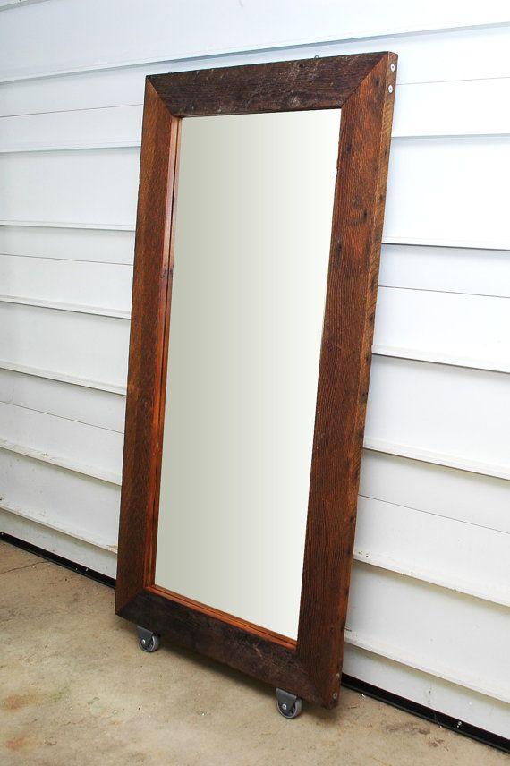 Reclaimed Wood Floor Mirror on Wheels - Reclaimed Wood Floor Mirror On Wheels Stains, Dressing Mirror
