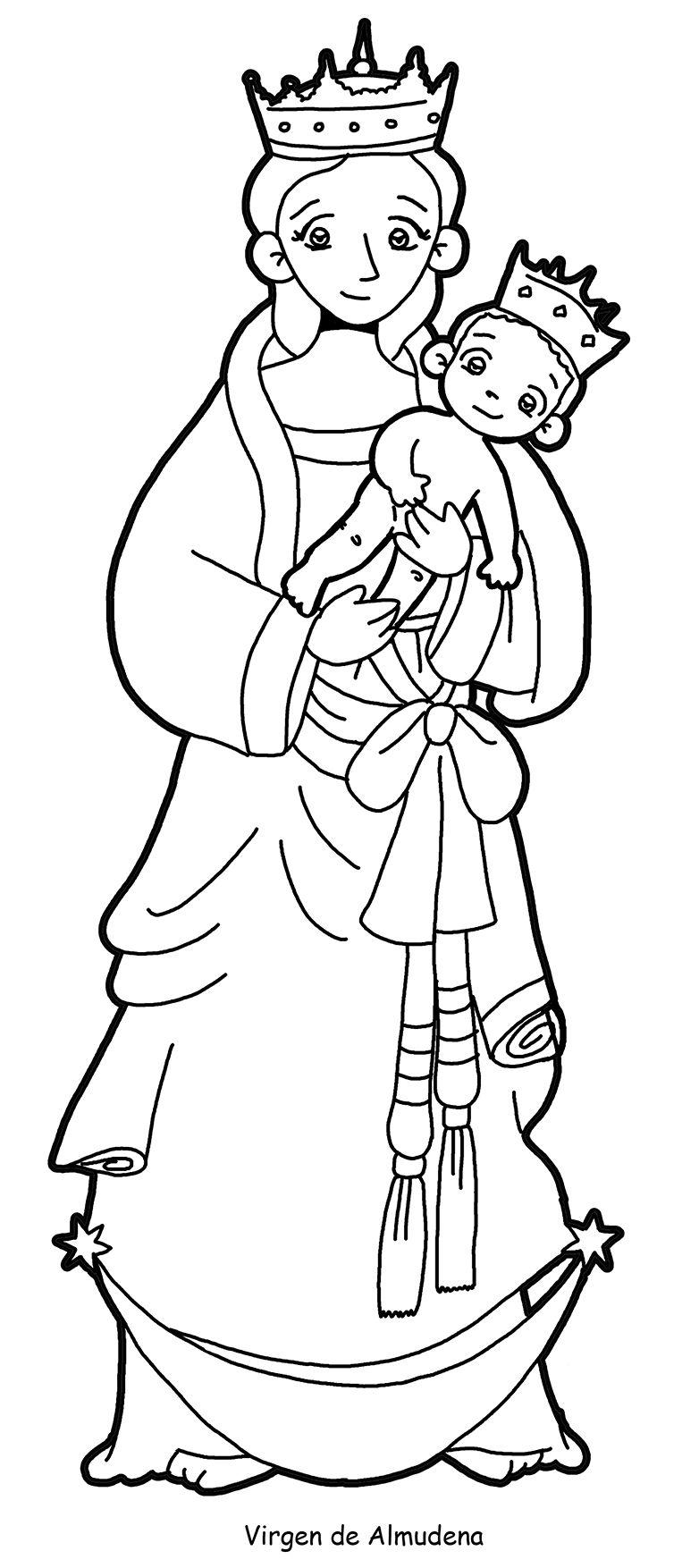 VIRGEN DE LA ALMUDENA para pintar. | Virgen María | Pinterest