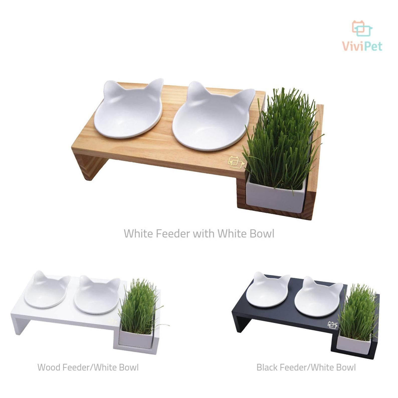 Elevated raised cat food stand with two ceramic bowls