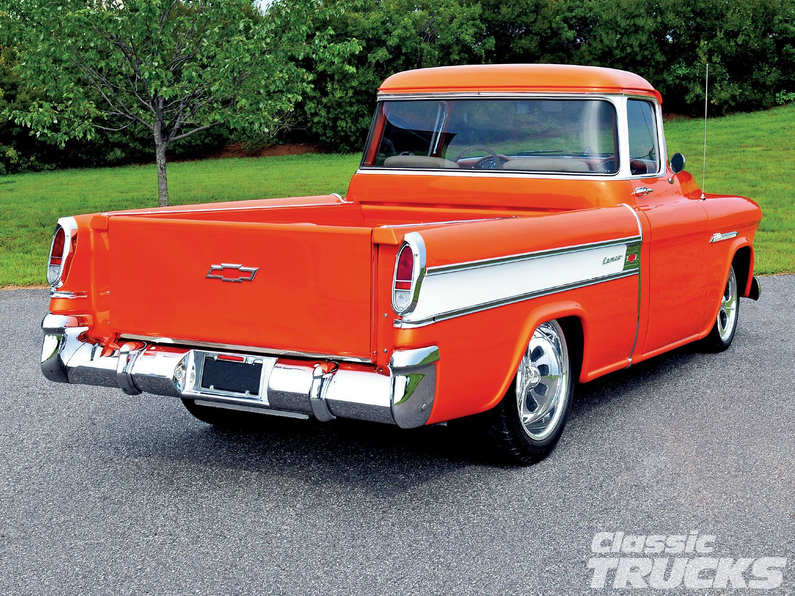 1955 Chevy Truck 1955 Chevrolet Cameo Rear Classic Chevy Trucks Classic Trucks Chevy Pickups