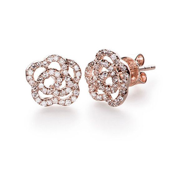 Diamond Rose Stud Earrings By Ef Collection 795 Liked On Polyvore Featuring Jewelry