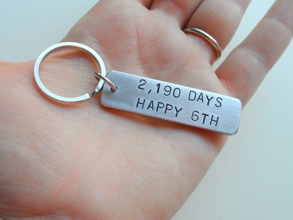 6 year anniversary gift aluminum tag keychain engraved w