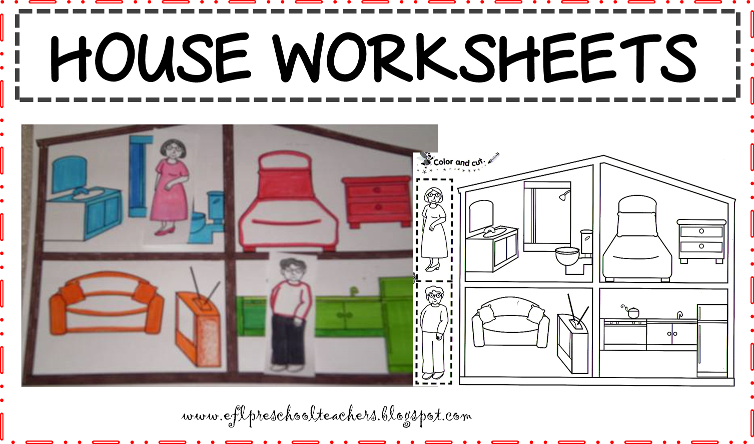 Esl Family In The House Worksheet
