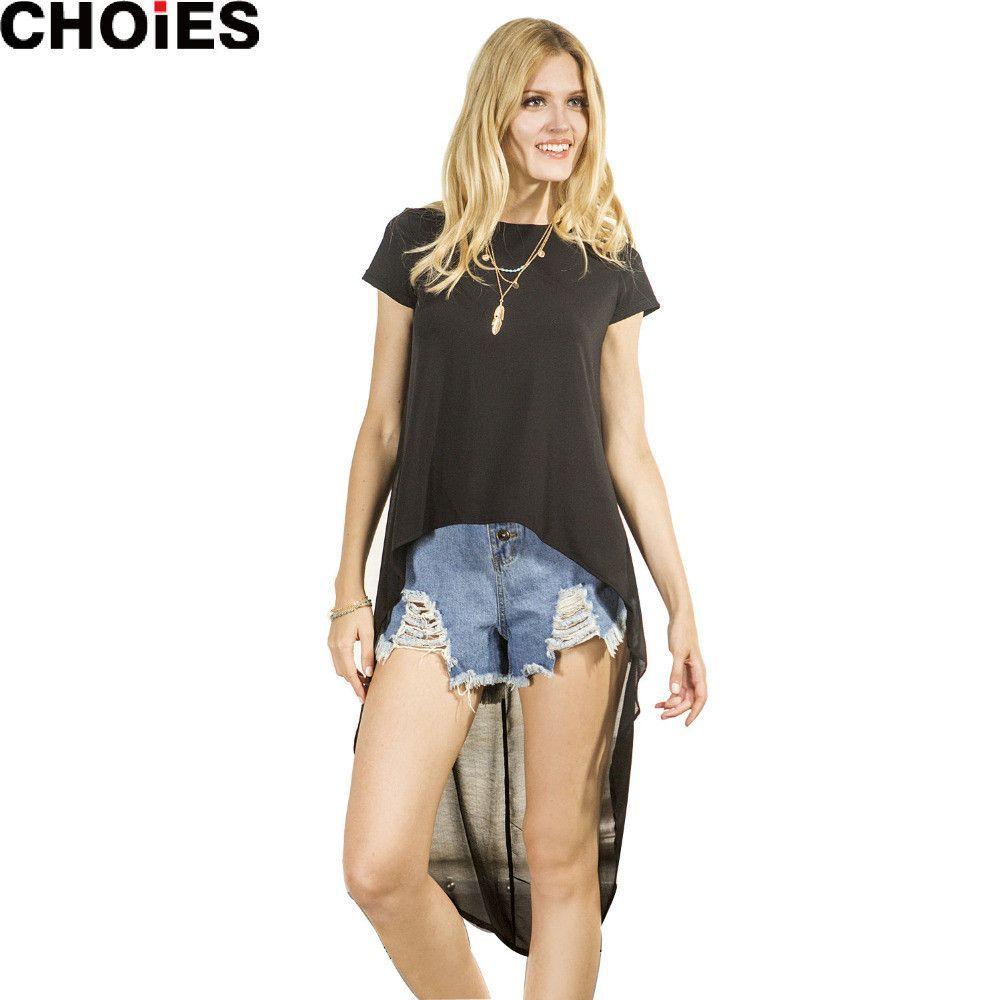 Women black chiffon patchwork hilo high low loose short sleeve