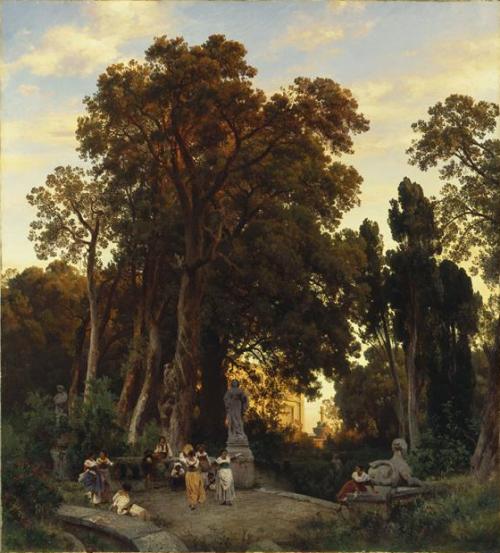 Oswald Achenbach (All. 1827-1905), Parc d'une villa italienne, vers 1860, huile sur toile, 130,, x 116,3 cm, Munich, Bayerische Staatsgemäldesammlungen