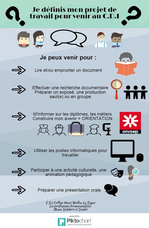 Mon Projet de travail au CDI Piktochart Infographic
