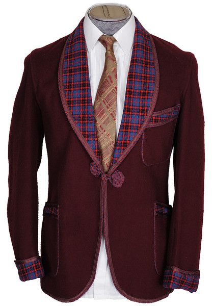 Sharp tartan trimmed 1940s smoking jacket.