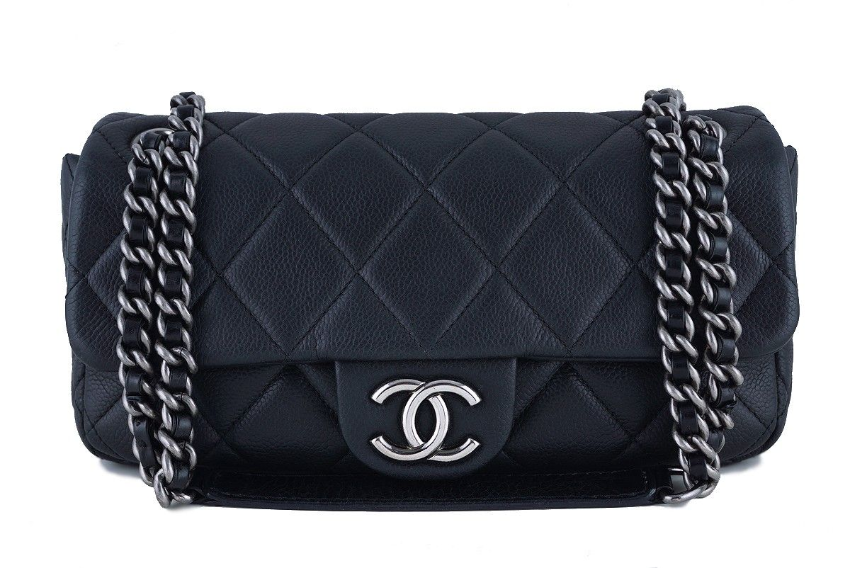72574e97391a Chanel Black 10in. Soft Caviar Medium Quilted Classic Flap Bag - Available  for purchase is this ultra luxe Chanel Black 10in. Soft Caviar Medium  Quilted ...