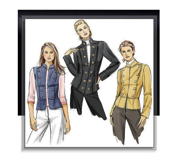VOGUE MILITARY JACKET Pattern Double Breasted Jacket Vest Patterns ...