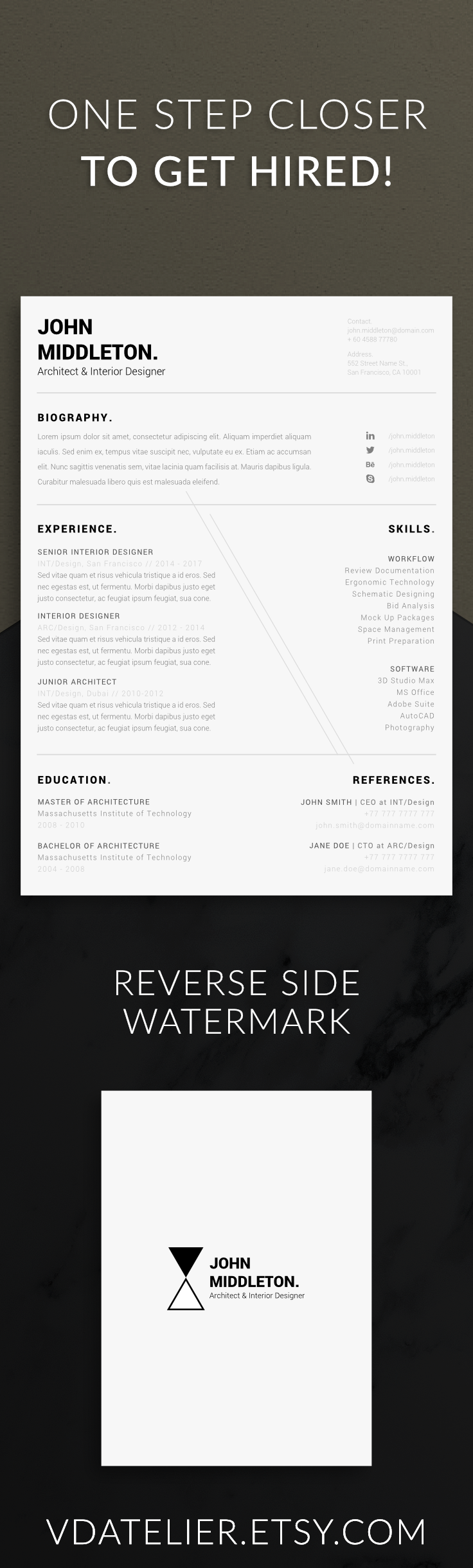 Modern Minimalist Resume Template One Page Resume Five Page Resume