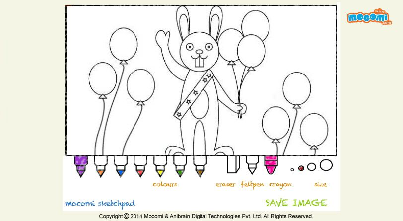 #BunnywithBalloons – Free printable online #colouringpage for #kids. Colour online using our colouring pallet and download your coloured page by clicking save image. More stuff at http://mocomi.com/fun/arts-crafts/colouring-pages/