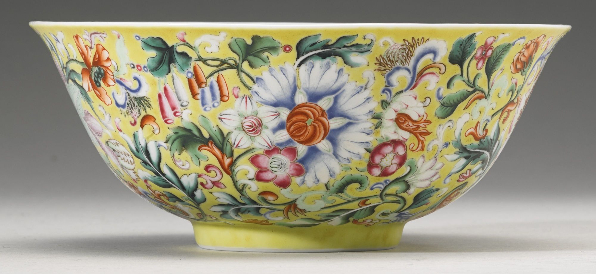 Image result for A FINE AND RARE YELLOW-GROUND ENAMELED 'FLORAL' BOWL QIANLONG SEAL MARK AND PERIOD